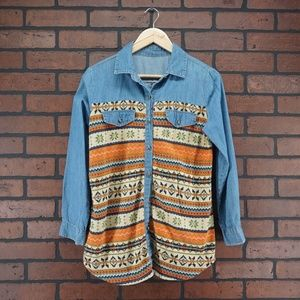 VINTAGE Flannel Denim Striped Button Up Shirt Med